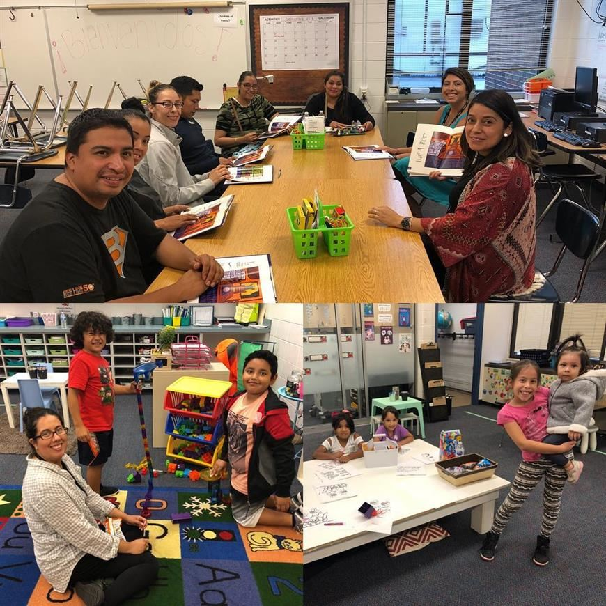 Families enjoying Latino Family Literacy Night