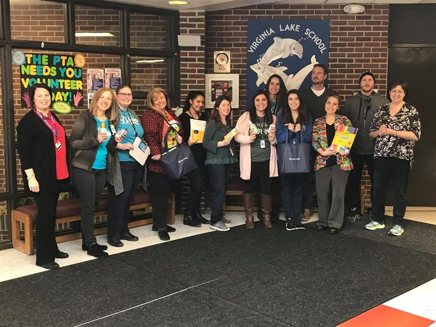 "Thank you to Harper College staff members for generously donating school supplies to our teachers as part of a ""Restock the C"