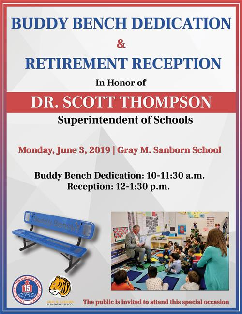 Buddy Bench Dedication & Retirement Reception poster