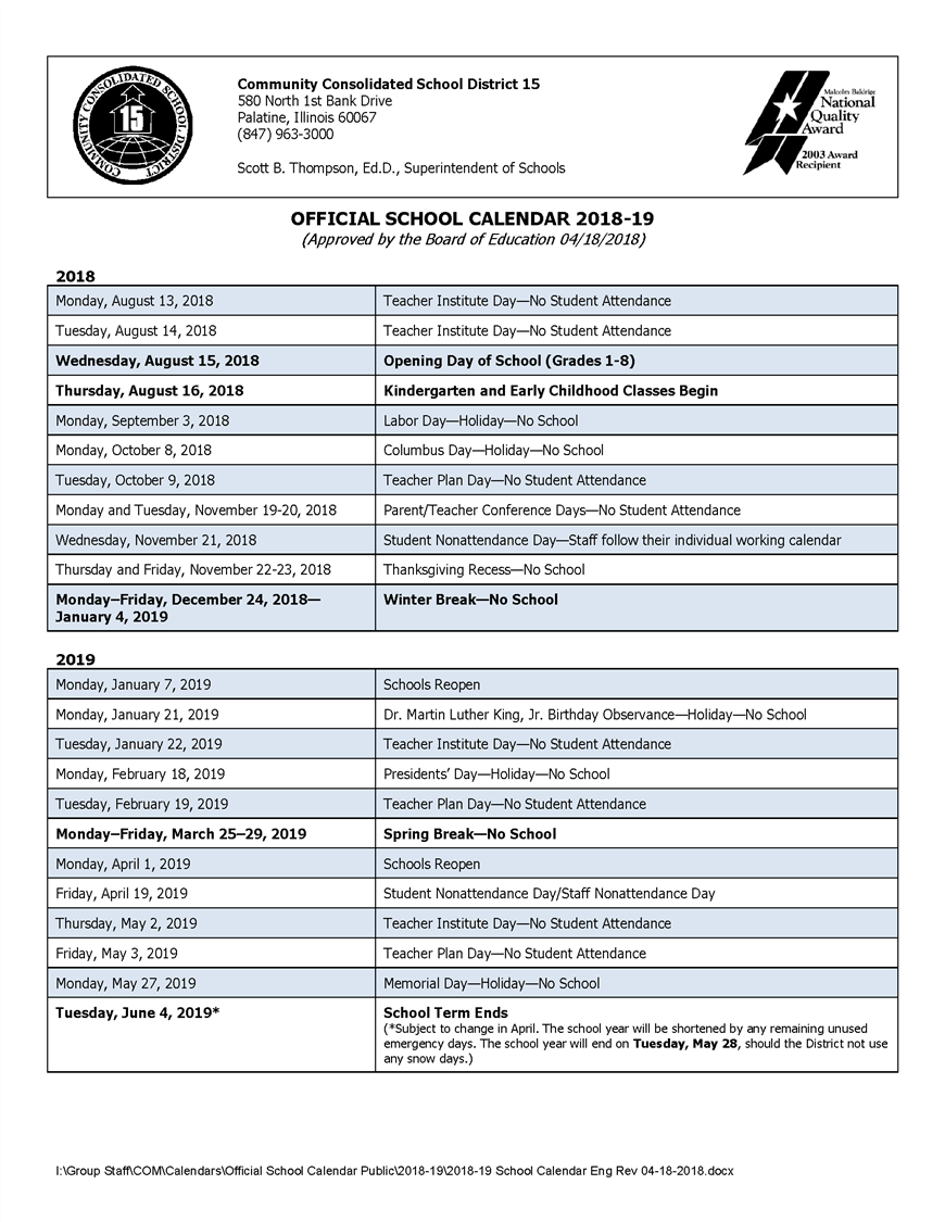 official school calendar 2018 19