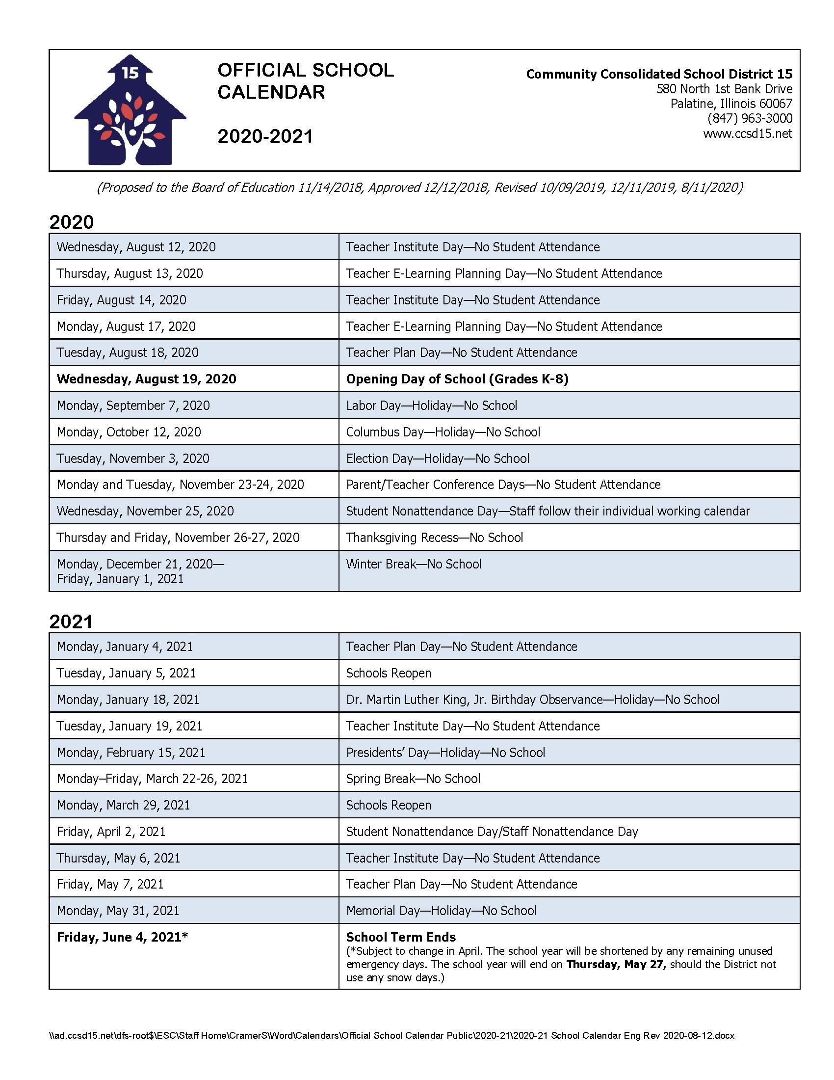 Ccsd Academic Calendar 2021-22 Calendars / 2020 21 Official School Calendar