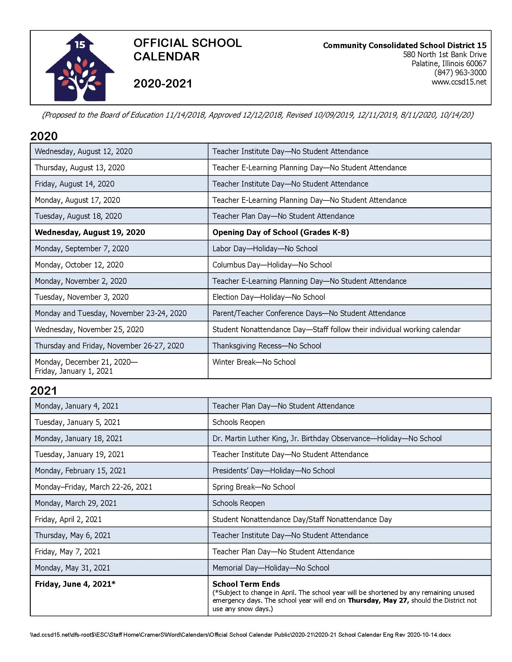 Clark County School District Calendar 2021-22 Calendars / 2020 21 Official School Calendar