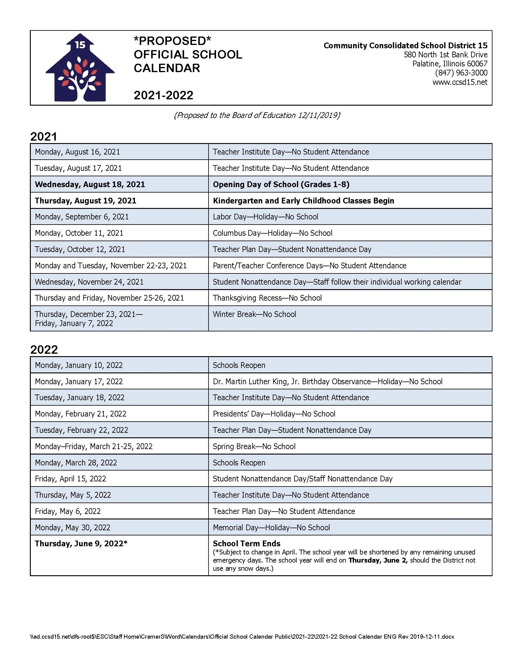 Calendar School Year 2021-22 Calendars / 2021 22 *Proposed* Official School Calendar